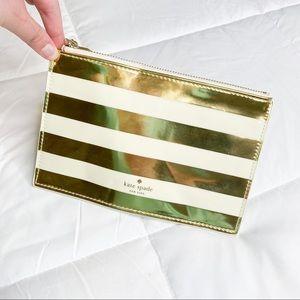Kate Spade Gold Metallic Striped Pencil Pouch